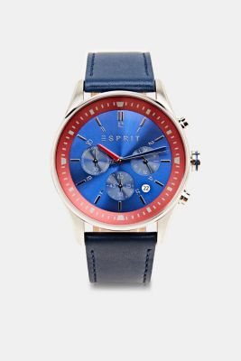 Stainless steel chronograph with a leather strap, LCBLUE, detail