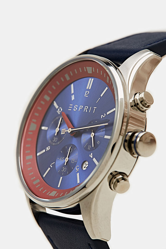 Stainless steel chronograph with a leather strap, BLUE, detail image number 1