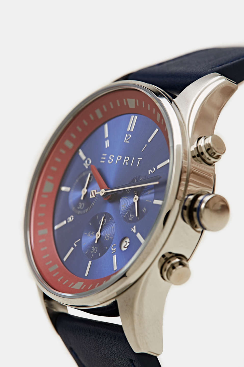Stainless steel chronograph with a leather strap, LCBLUE, detail image number 1