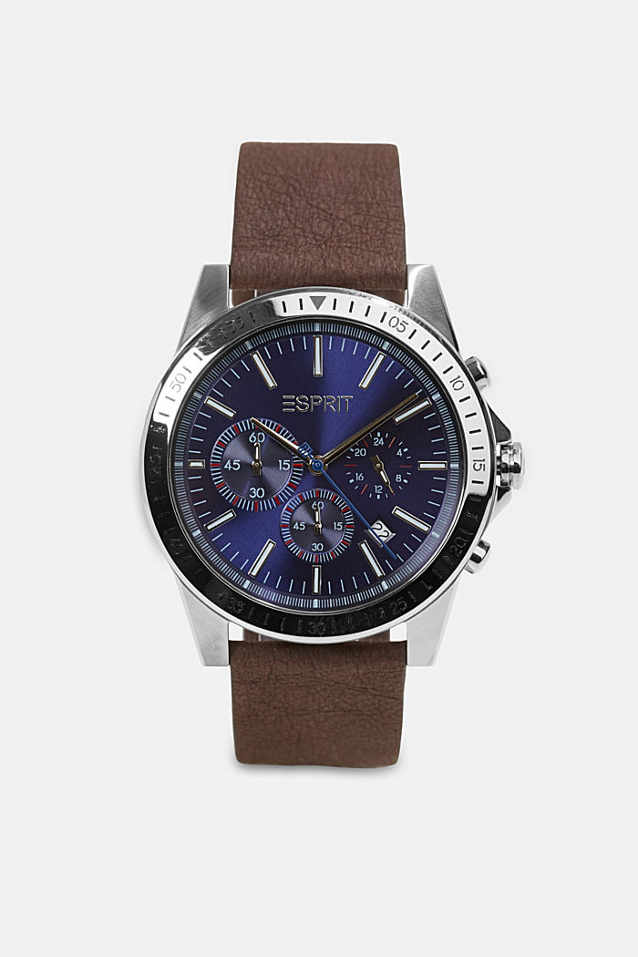 Vegan: Stainless-steel chronograph, DARK BROWN, detail image number 0
