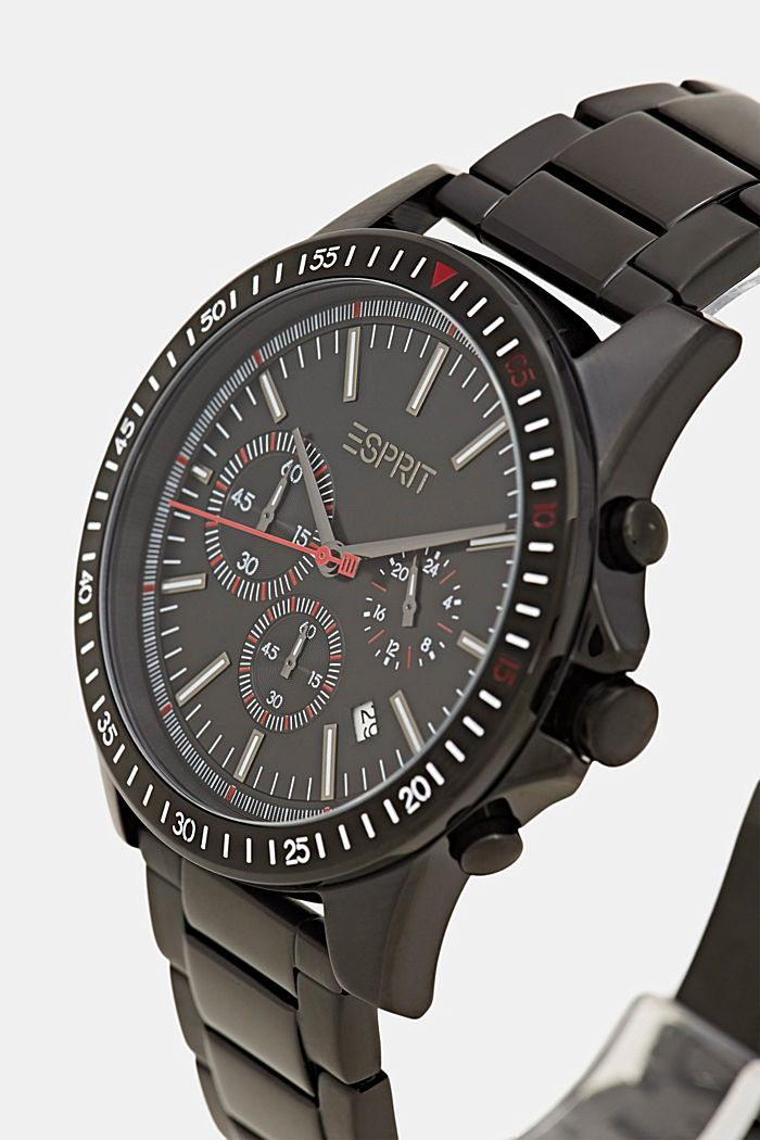 Chronograph watch with black plating, BLACK, detail image number 1