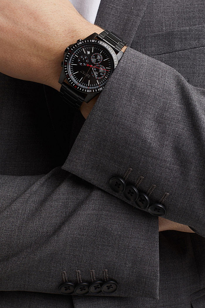 Chronograph watch with black plating