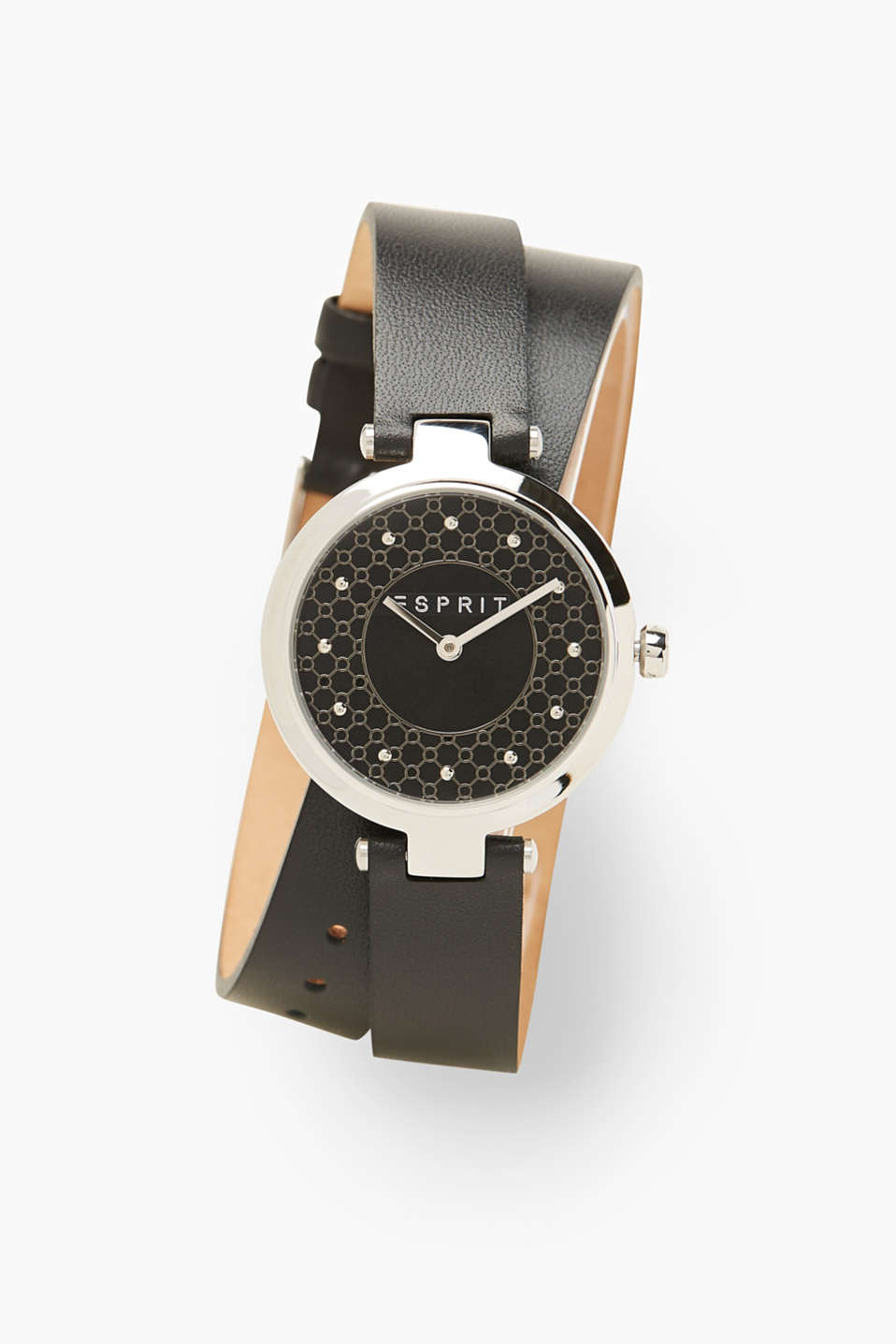 Esprit - Watch with double-bound leather wrist strap