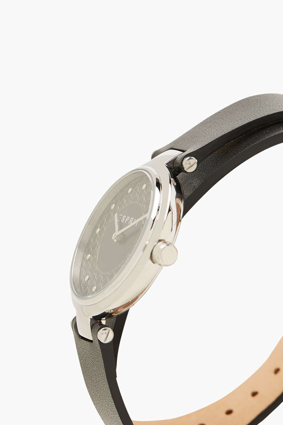 Watch with double-bound leather wrist strap
