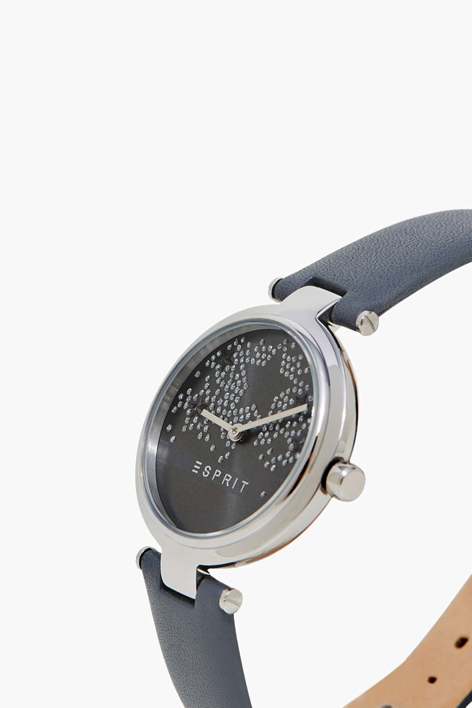 Stainless steel watch with embellished dial