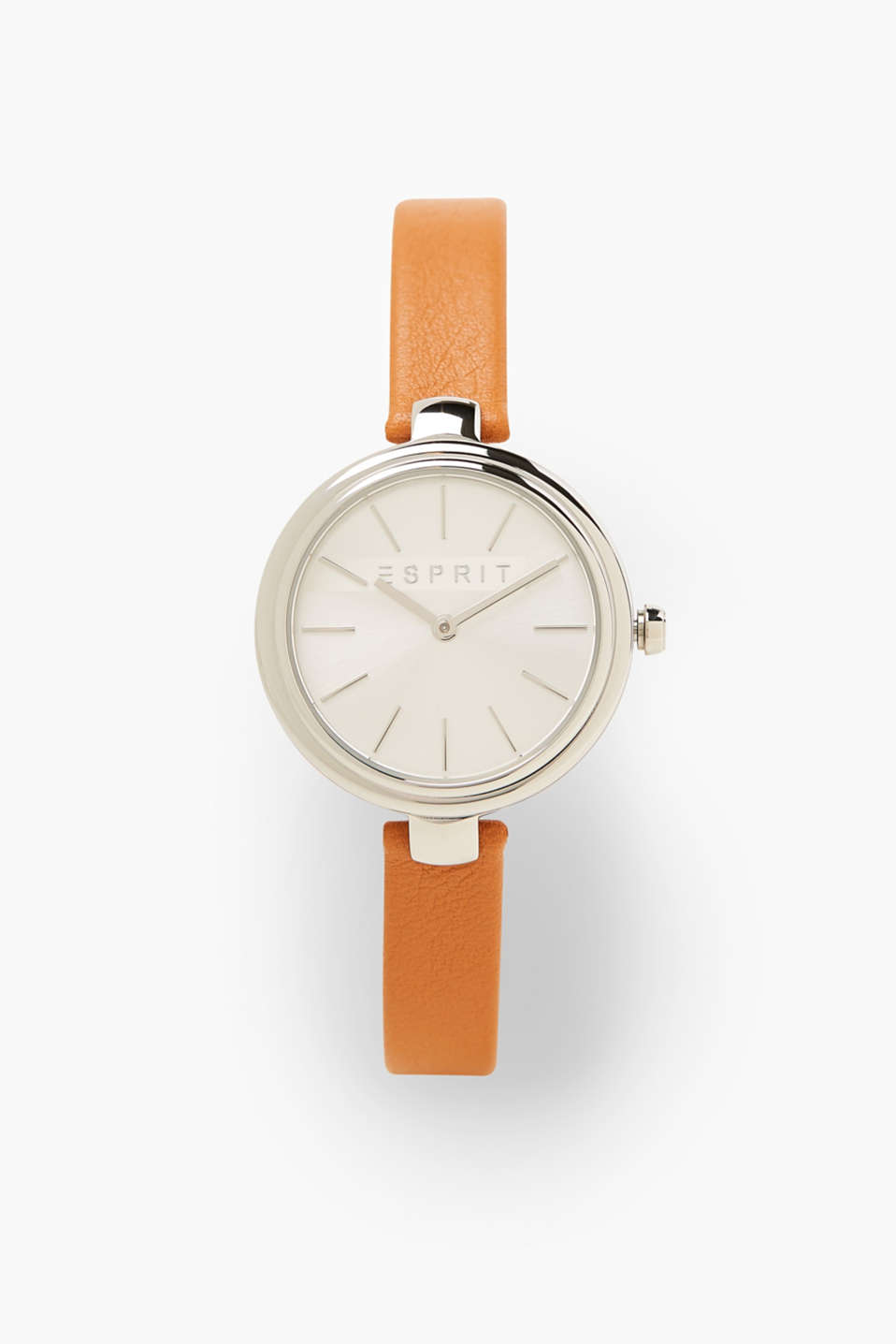 Esprit - Stainless steel watch, narrow leather strap