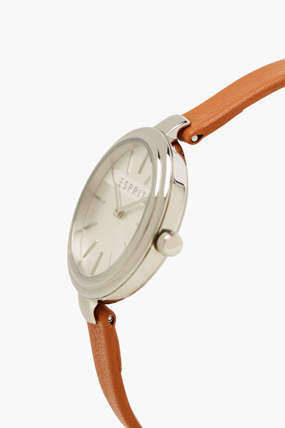 Stainless steel watch, narrow leather strap