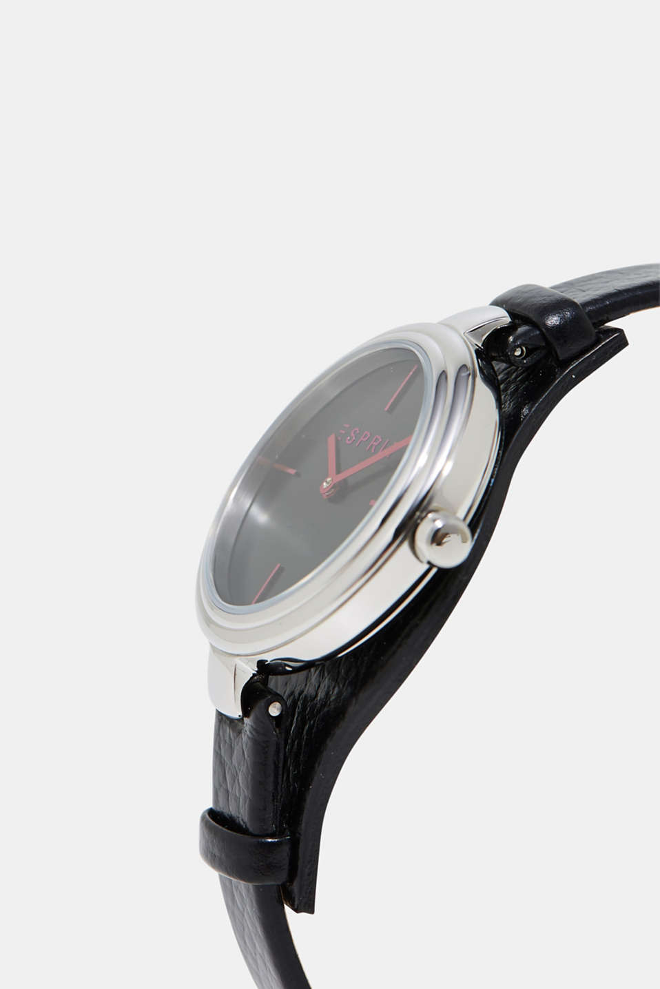 Stainless-steel watch + leather strap