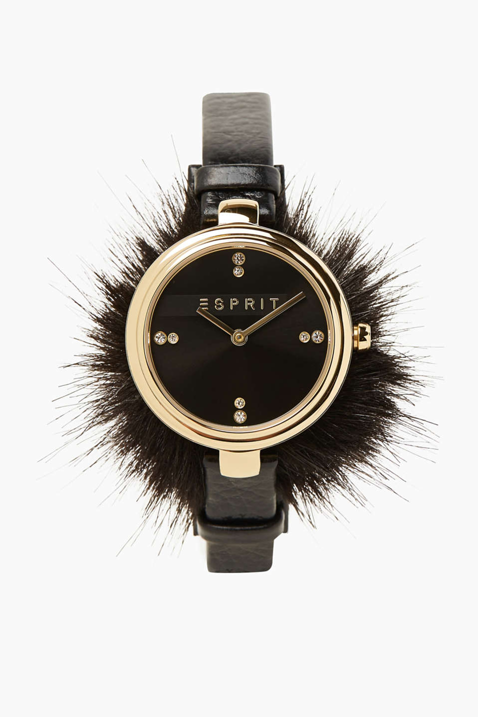 Simple and eye-catching. The minimalist design and fake fur trim make this watch one of a kind!
