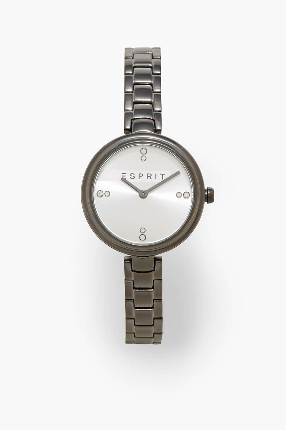 The minimalist dial with a zirconia trim and a narrow strap make this watch a timeless piece.