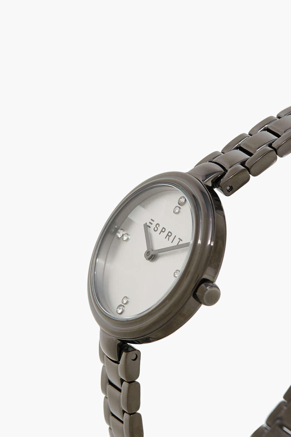 Stainless-steel watch with narrow link strap