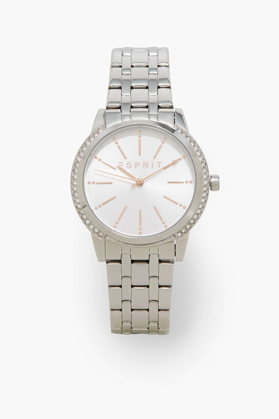The timeless silver tone and the sparkling zirconia trims in the bezel make this watch an exciting accessory.