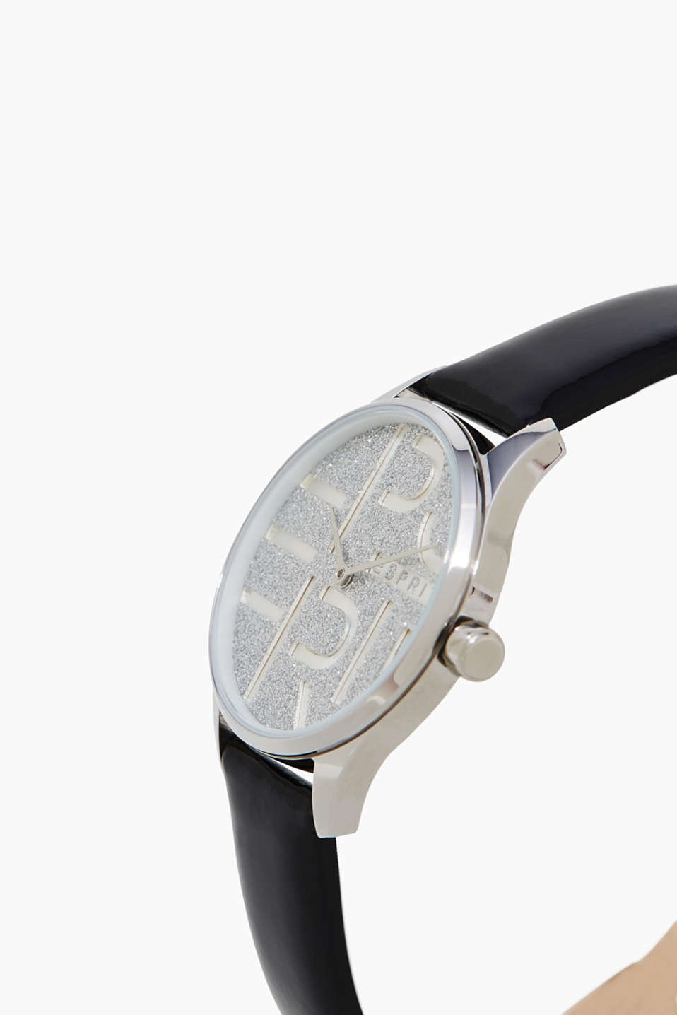 Stainless steel watch with glittering dial