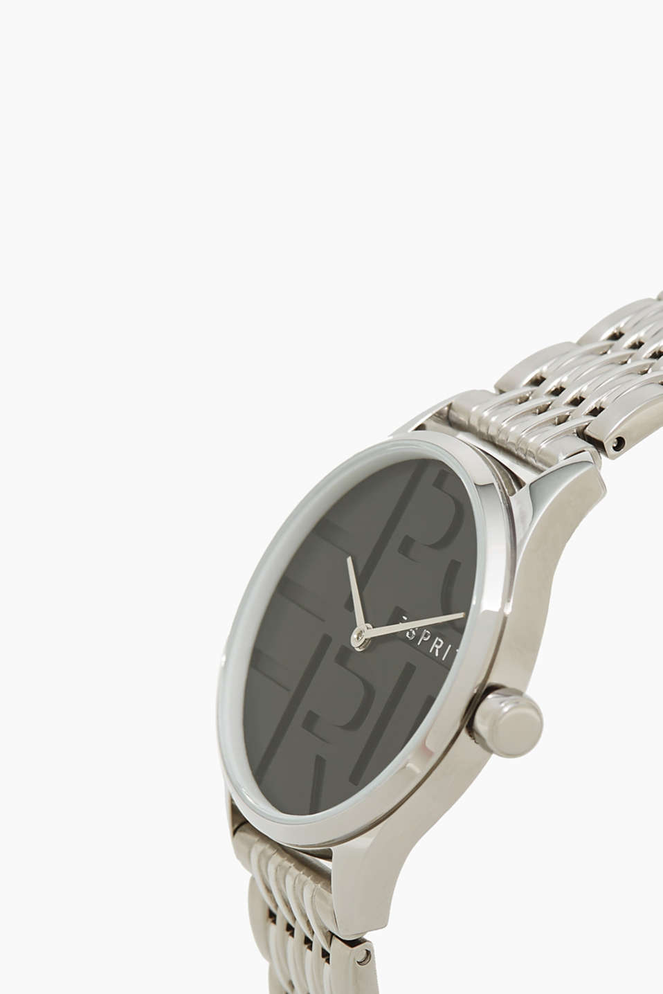 Stainless steel watch with a logo dial