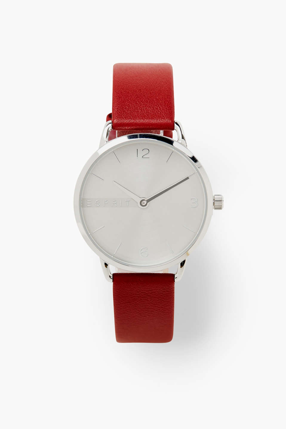 Esprit - Watch with a red leather strap