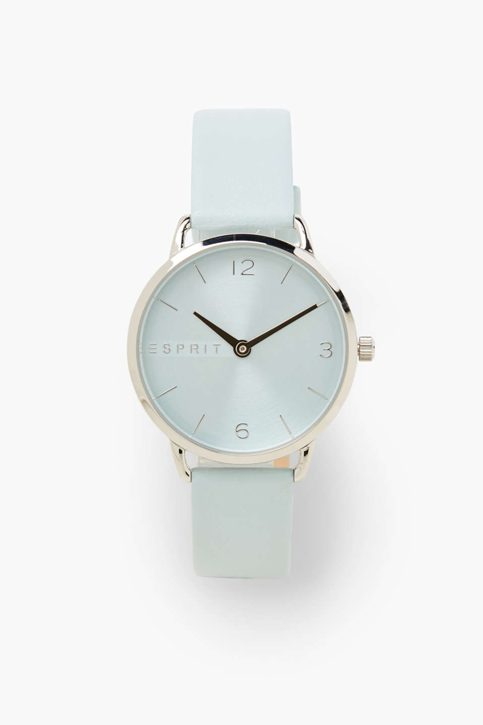 Esprit - Watch with a pastel blue leather strap