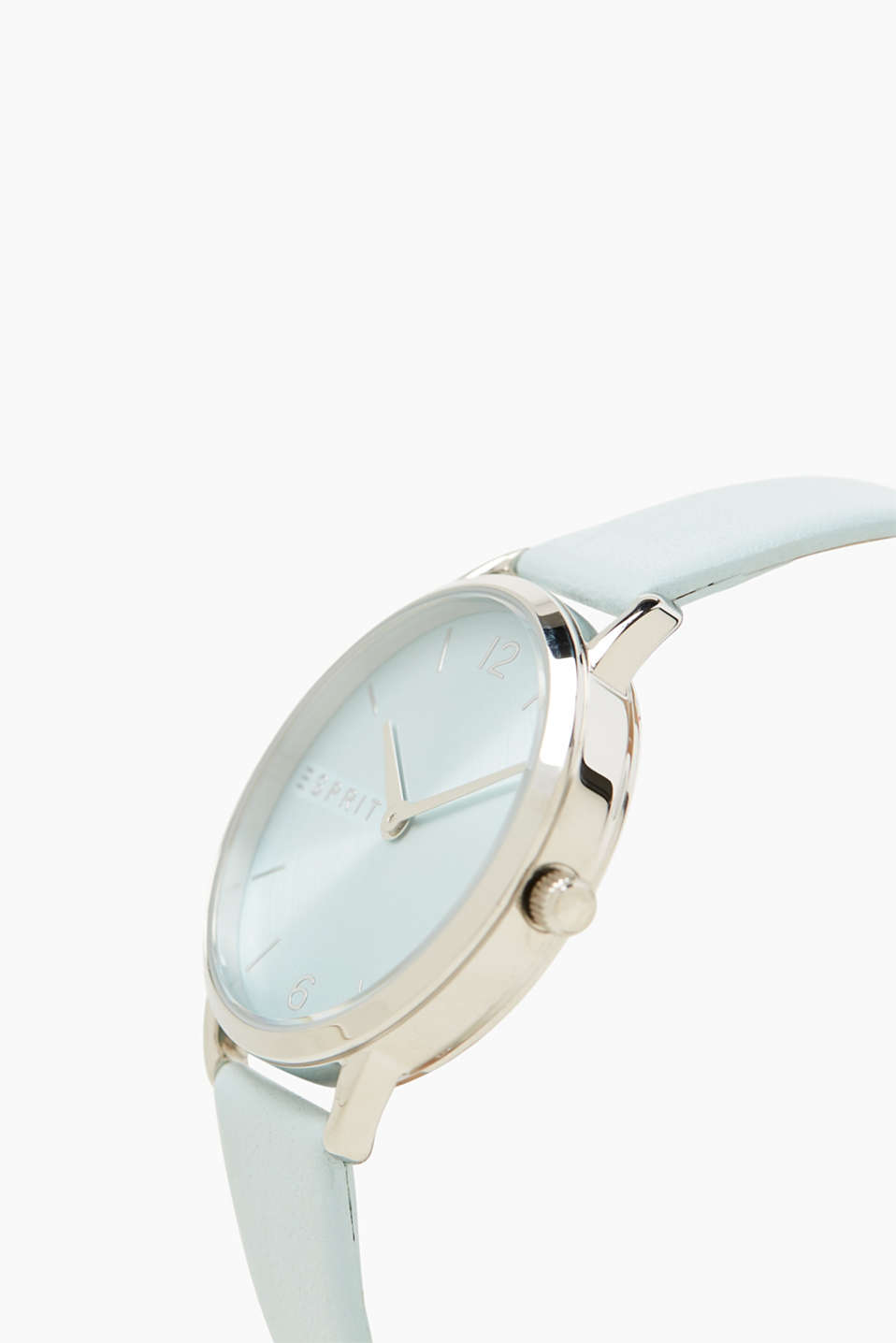 Watch with a pastel blue leather strap