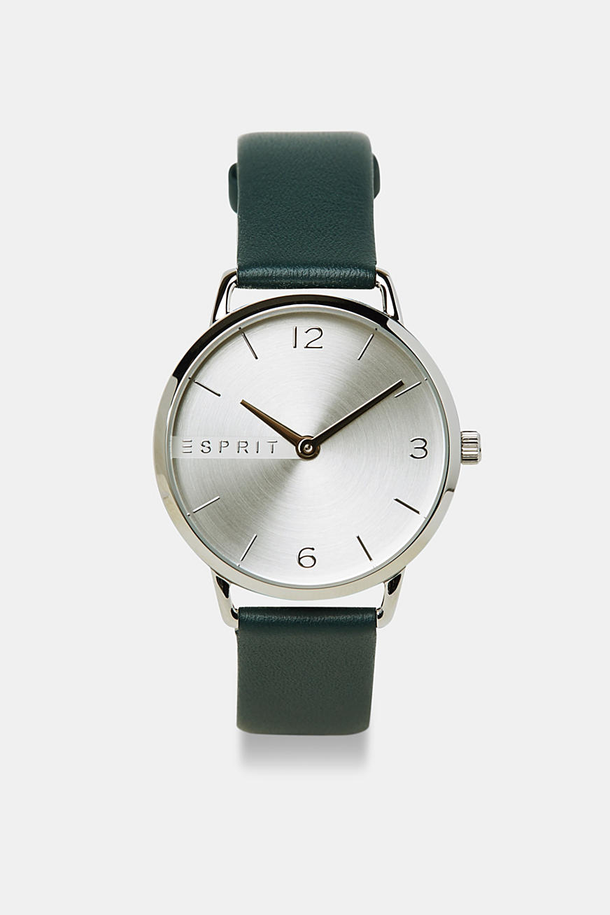 Stainless-steel watch with a leather strap