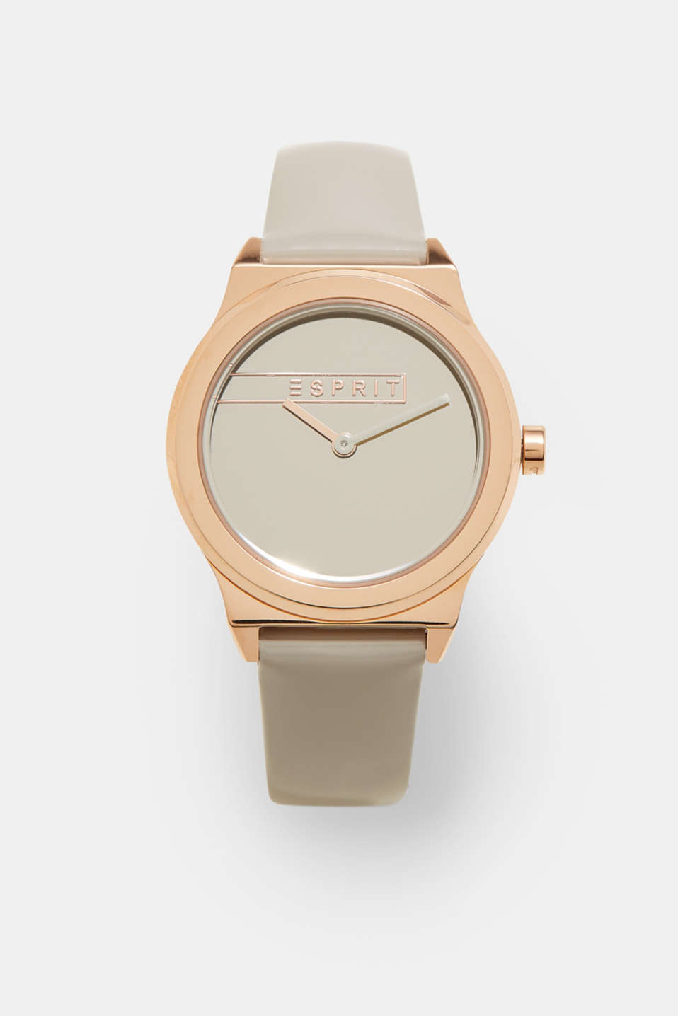 Esprit - Rose gold watch with a patent leather strap