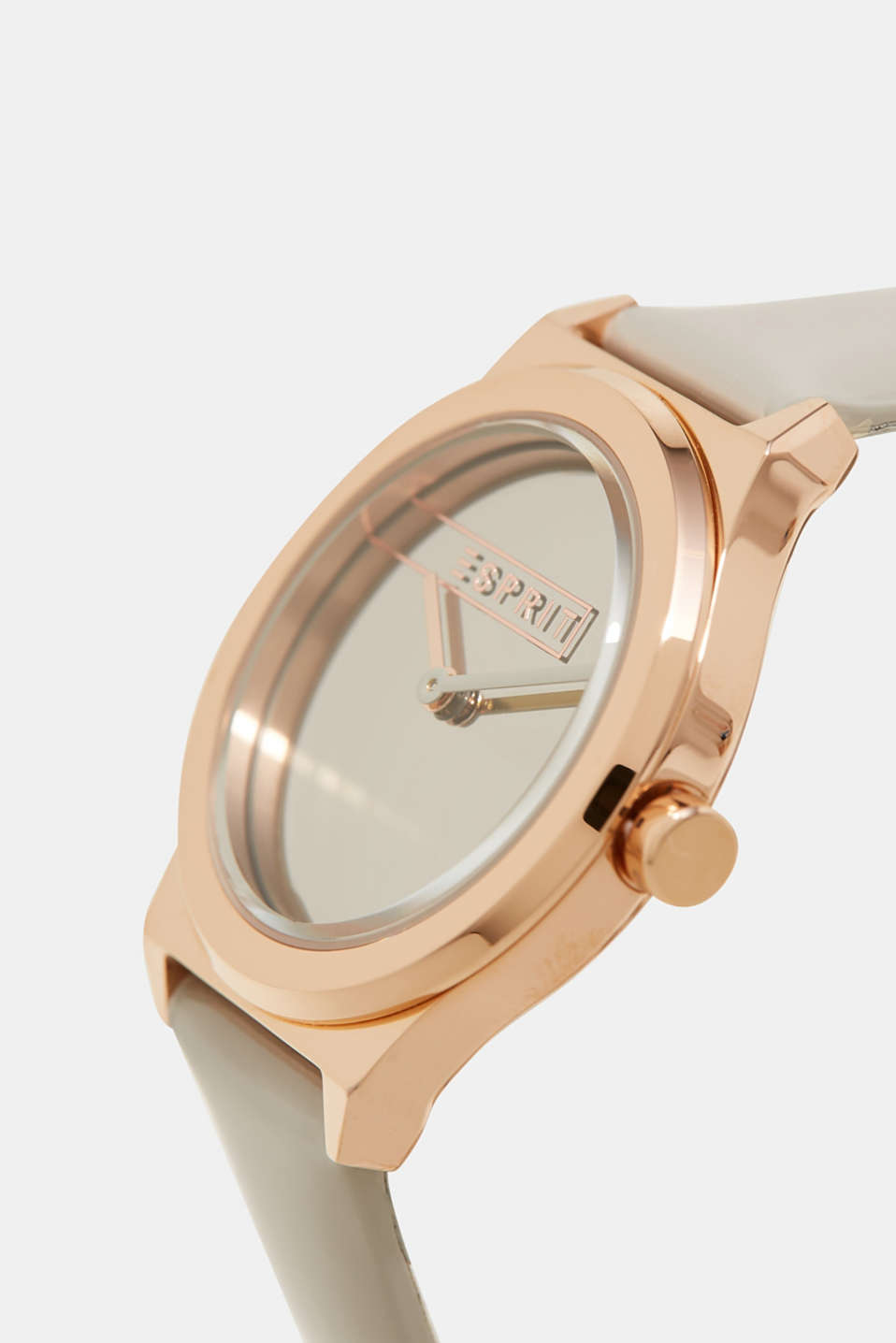 Rose gold watch with a patent leather strap