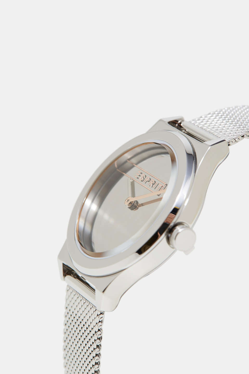 Stainless steel watch with a mirrored dial