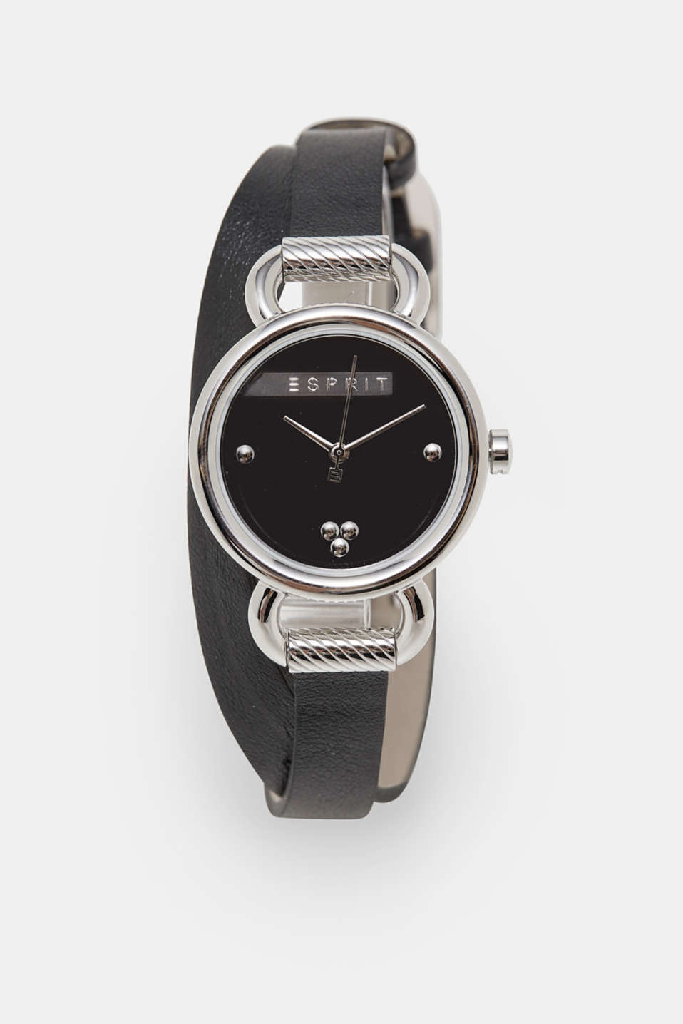 Esprit - Stainless steel watch, leather wrap-around