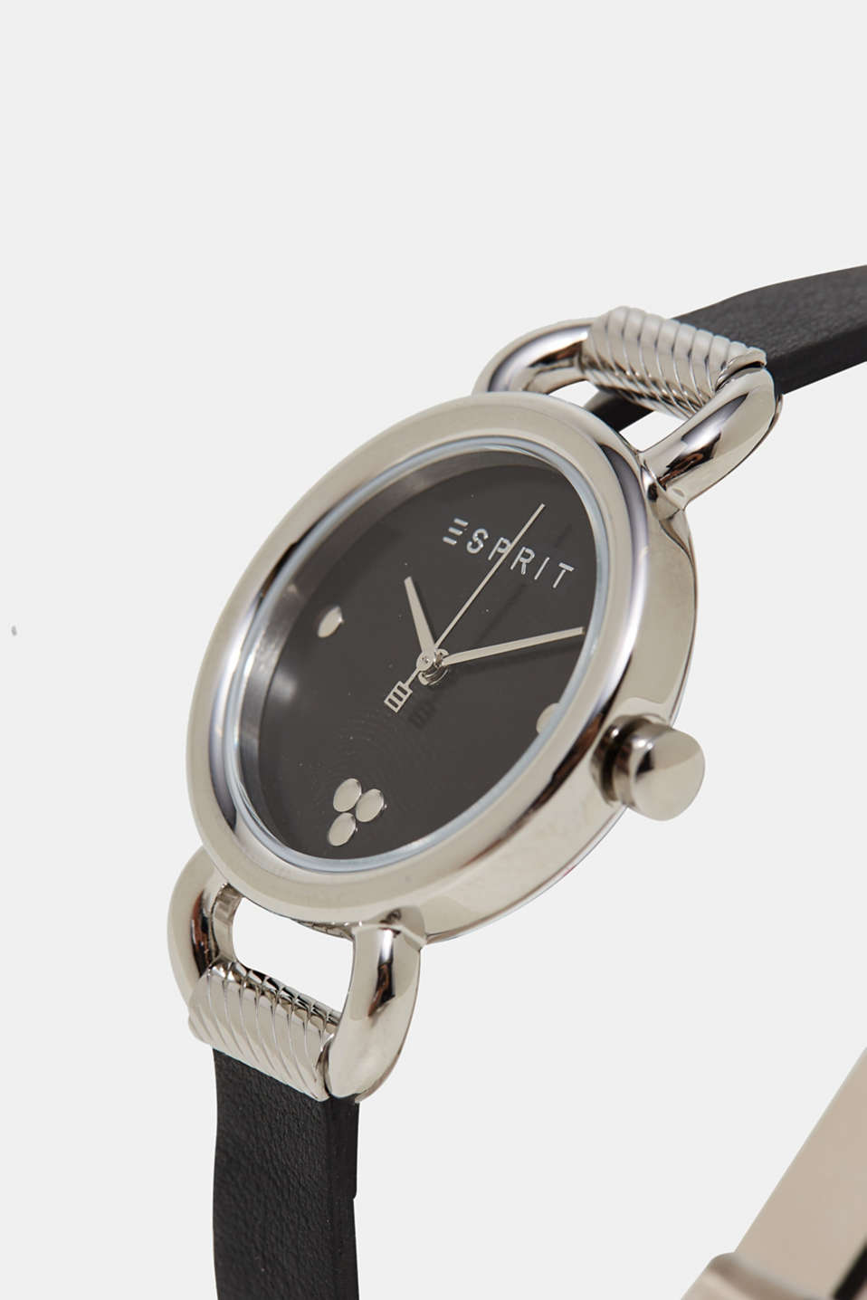 Stainless steel watch, leather wrap-around