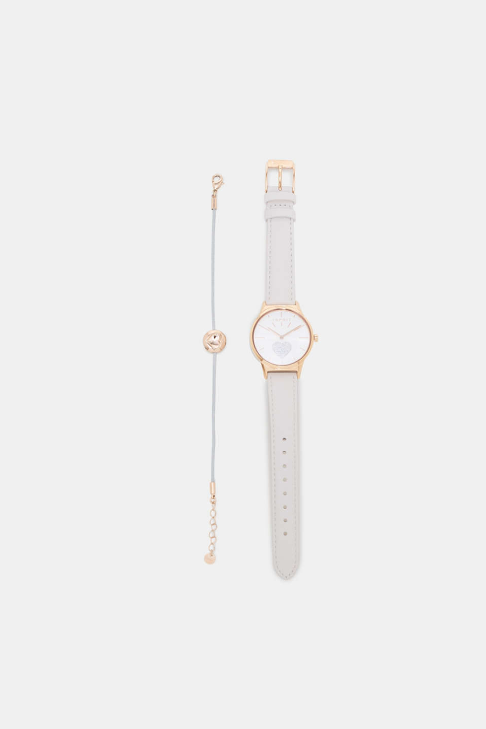 This watch and bracelet set in modern rose gold is modern and lovingly decorated.