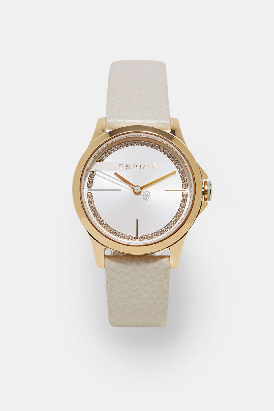 Esprit - Gold tone watch with leather strap