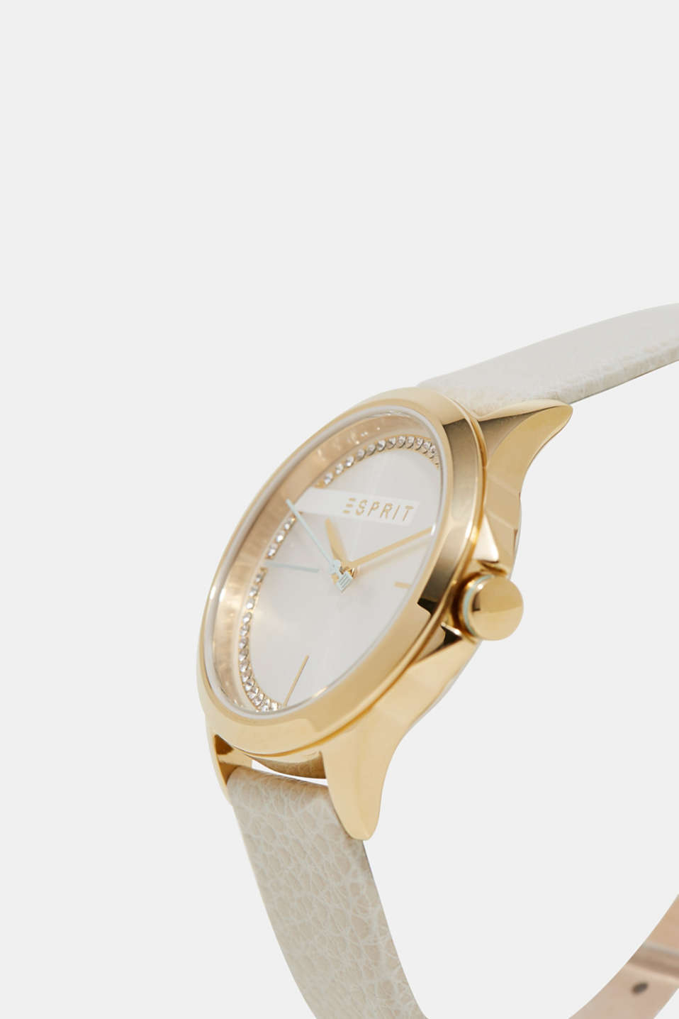 Gold tone watch with leather strap