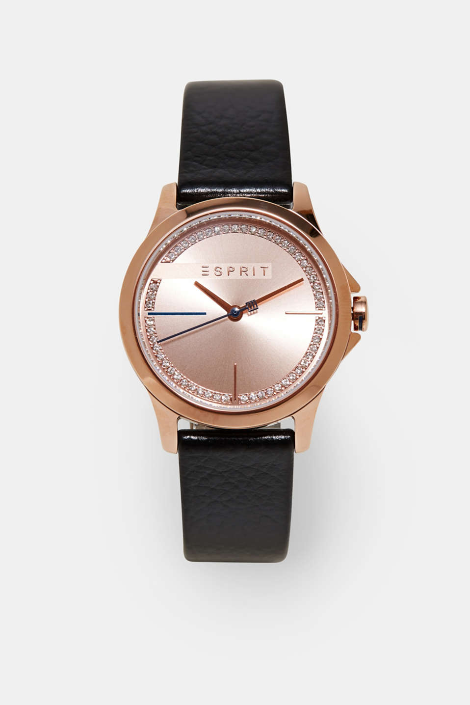 Esprit - Rose gold watch with leather strap
