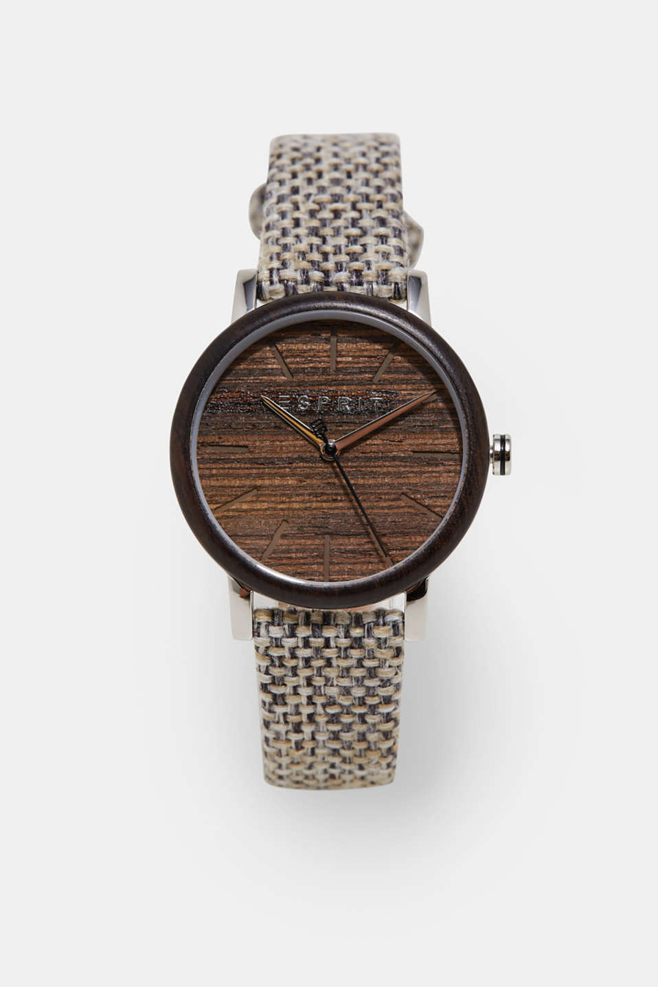 Esprit - Watch with a wooden trim and woven strap
