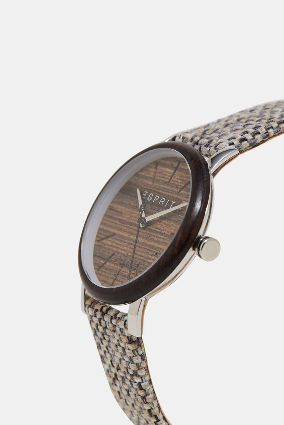 Watch with a wooden trim and woven strap