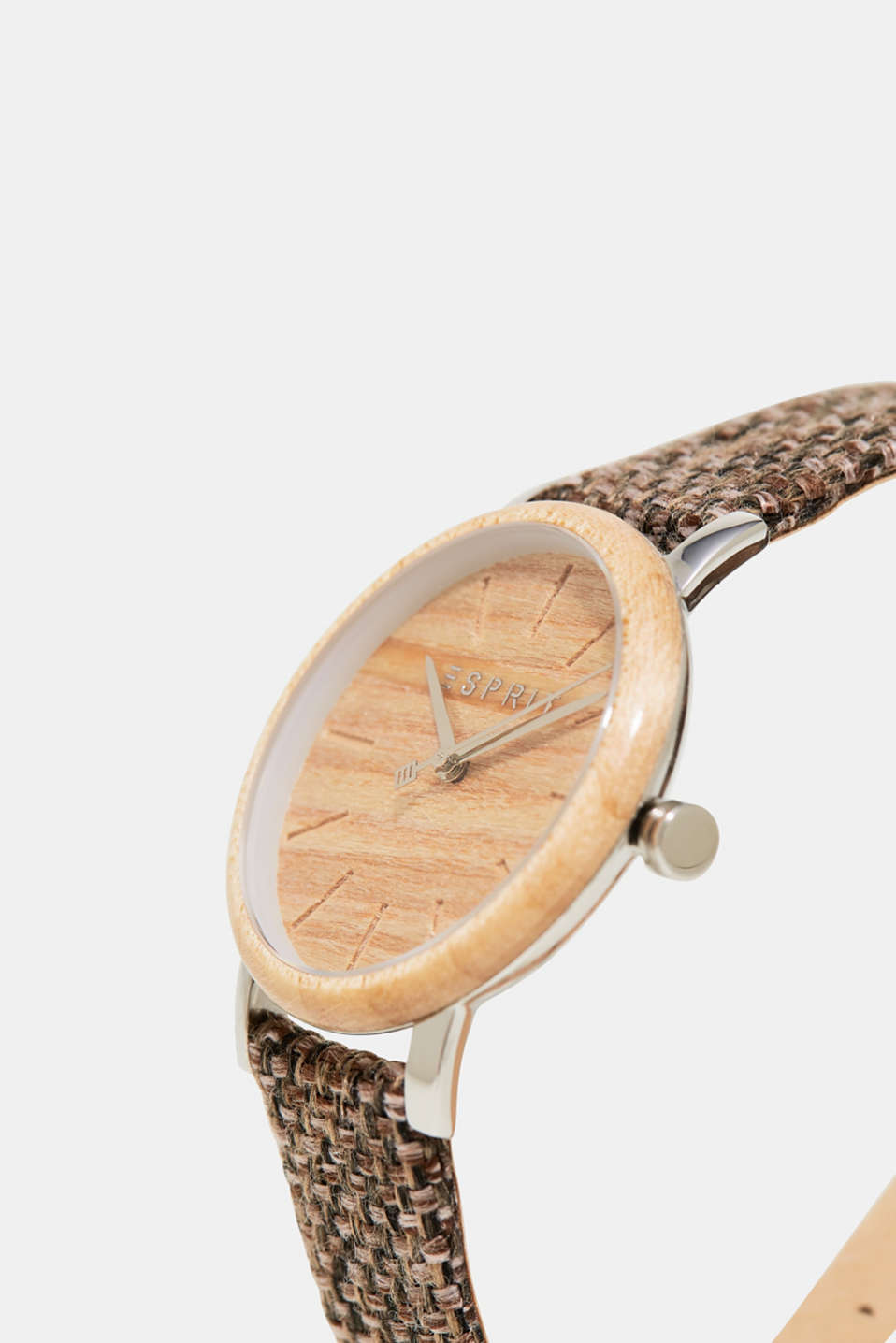 Wood-trim watch + leather strap