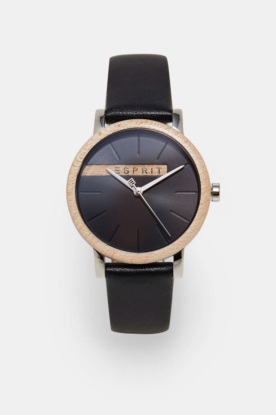 Esprit - Wood-trim watch + leather strap