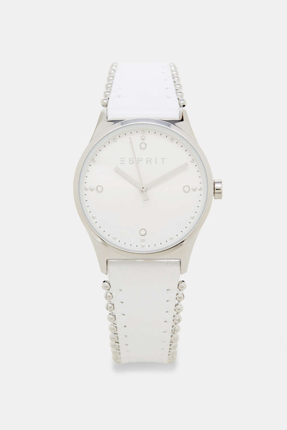 Esprit - Watch + leather wrist strap + metal beads