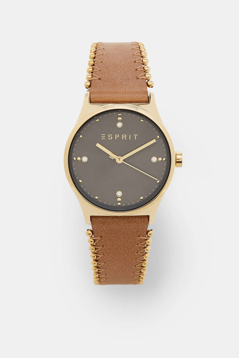 Esprit - Watch, leather wrist strap and metal beads