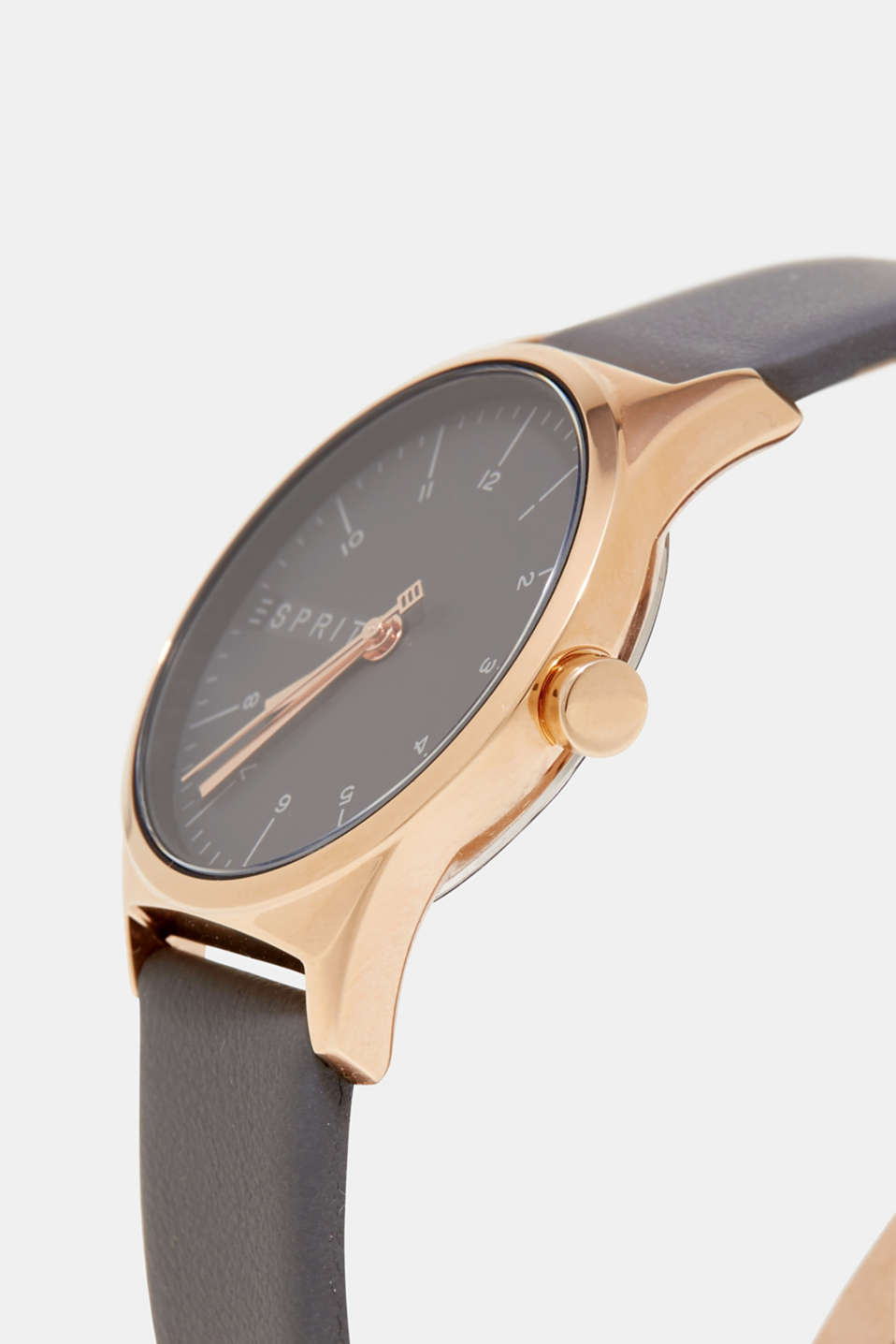 Rose gold tone watch, grey leather strap