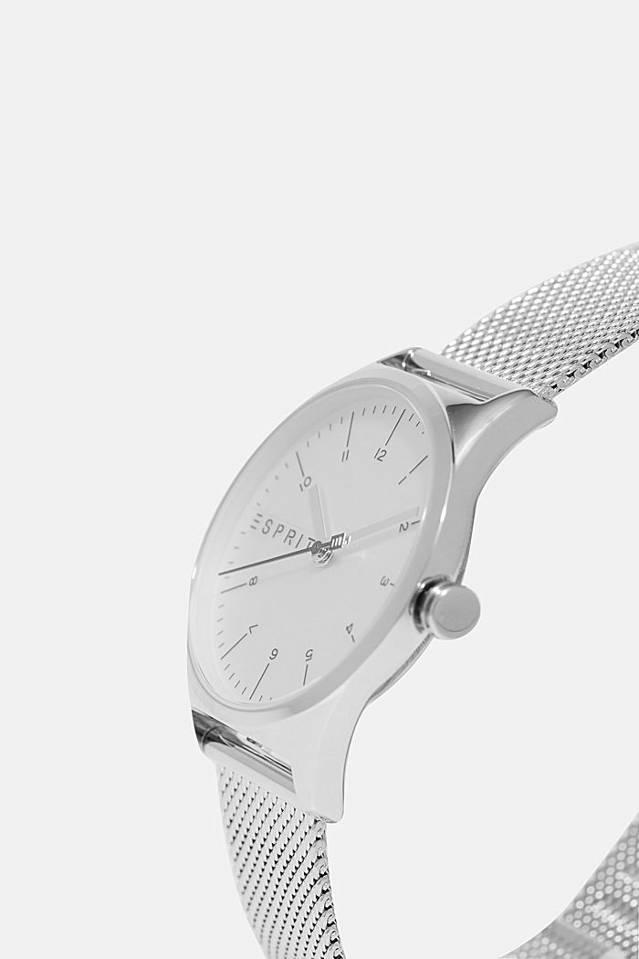 Stainless steel watch with a Milanese strap, SILVER, detail image number 1