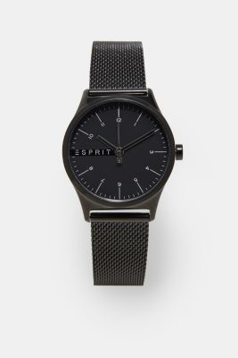 Stainless steel watch with black alloy, BLACK, detail