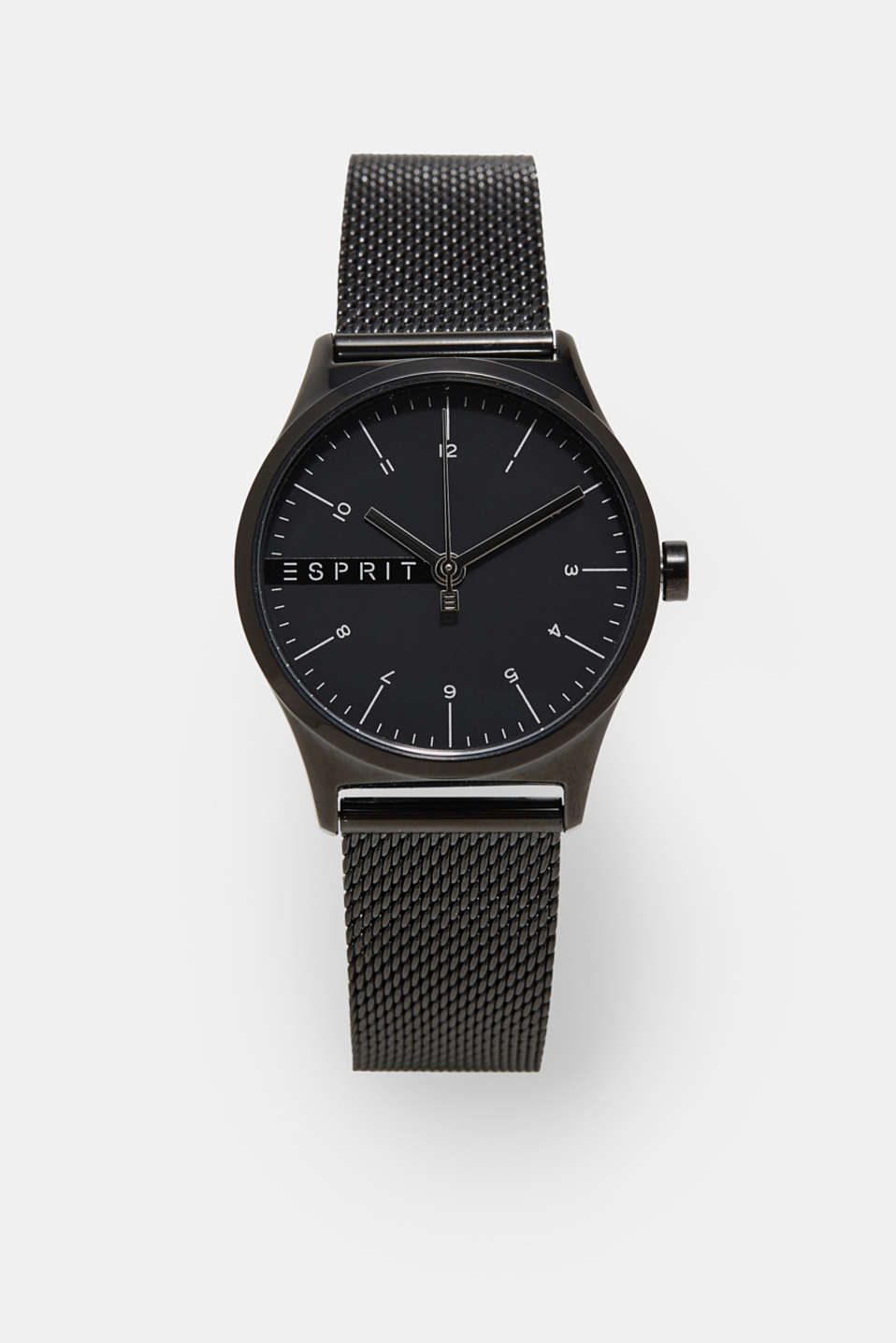 Stainless steel watch with black alloy, BLACK, detail image number 0
