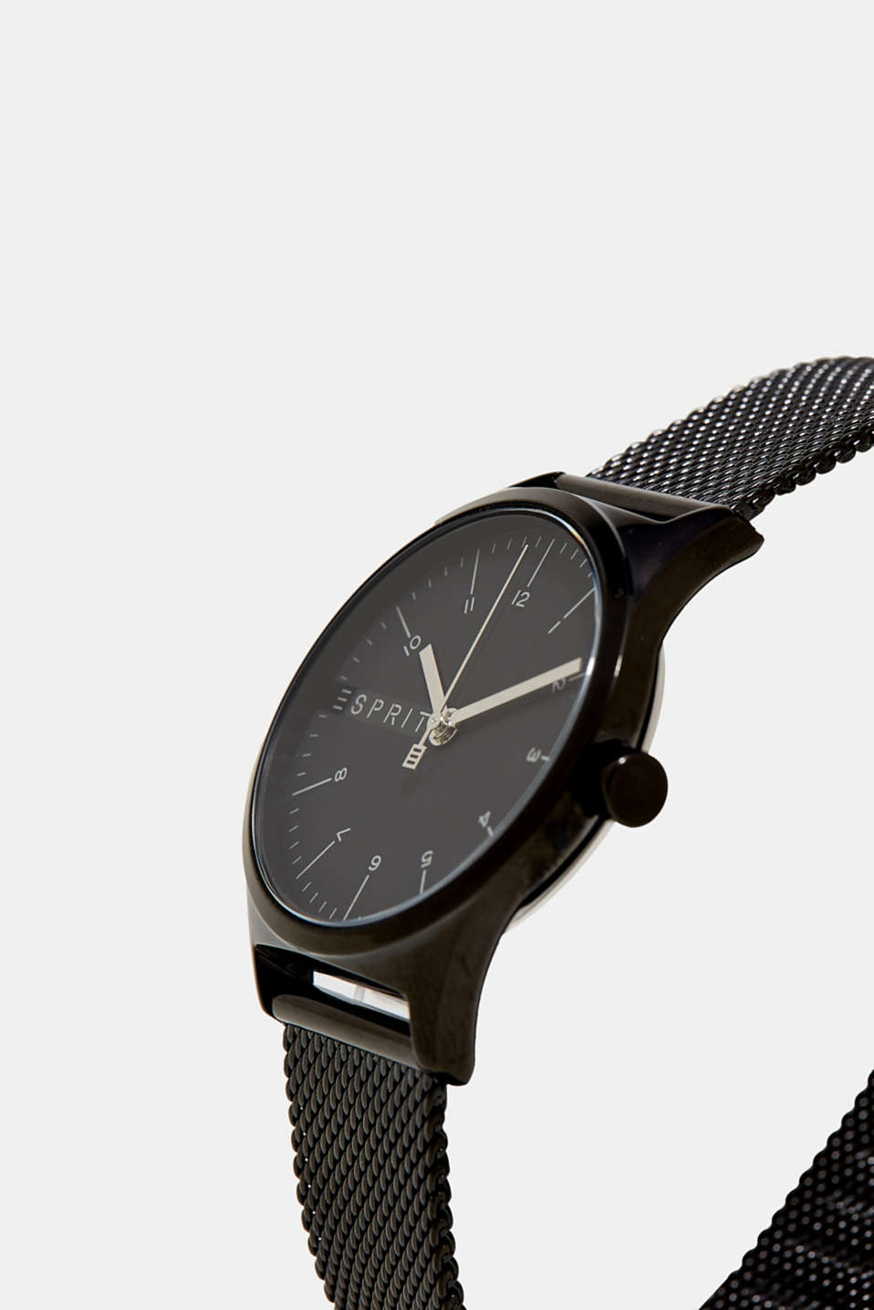Stainless steel watch with black alloy, BLACK, detail image number 1
