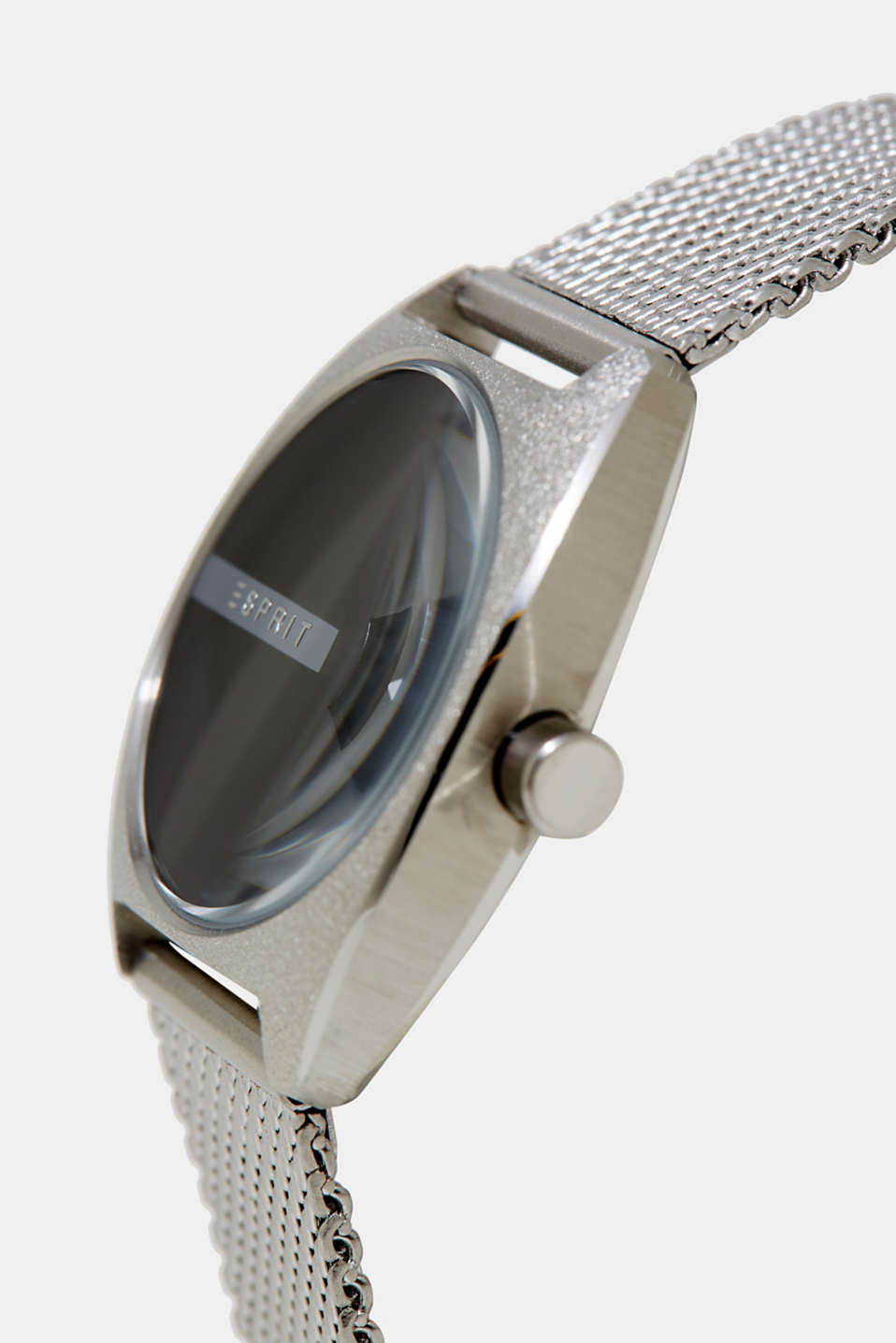 Steel digital watch with a Milanese strap