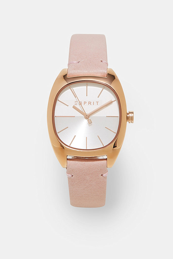 Golden stainless steel watch with a leather strap, ONE COLOR, detail image number 0