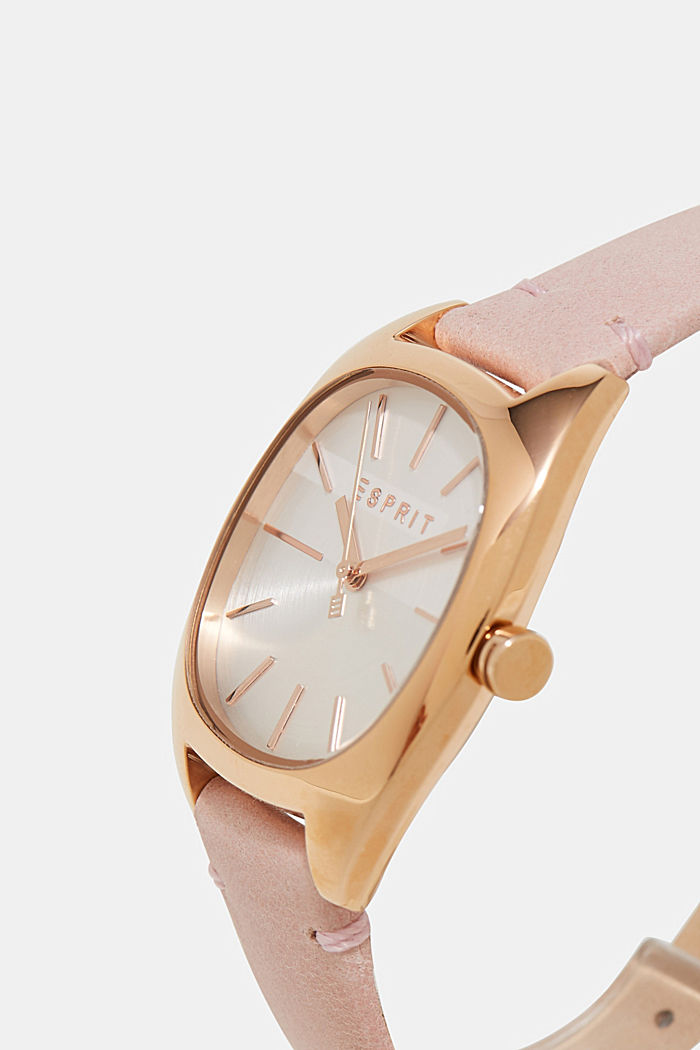 Golden stainless steel watch with a leather strap, ONE COLOR, detail image number 1