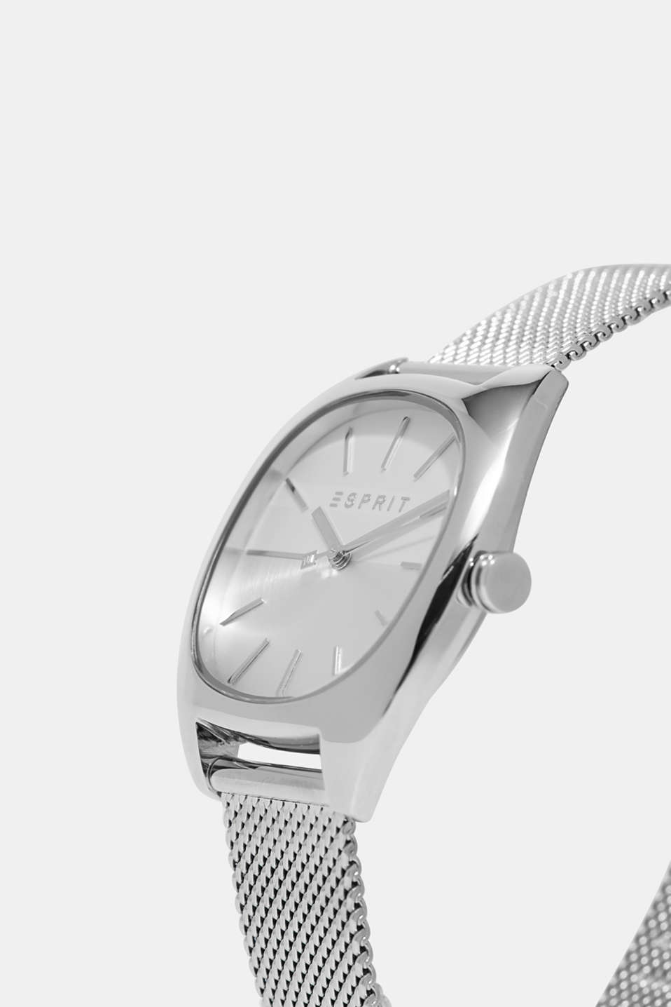 Watch with a silver mesh bracelet