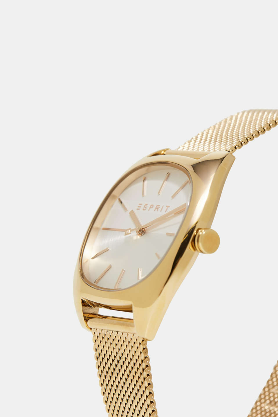 Gold-tone watch with a Milanese strap