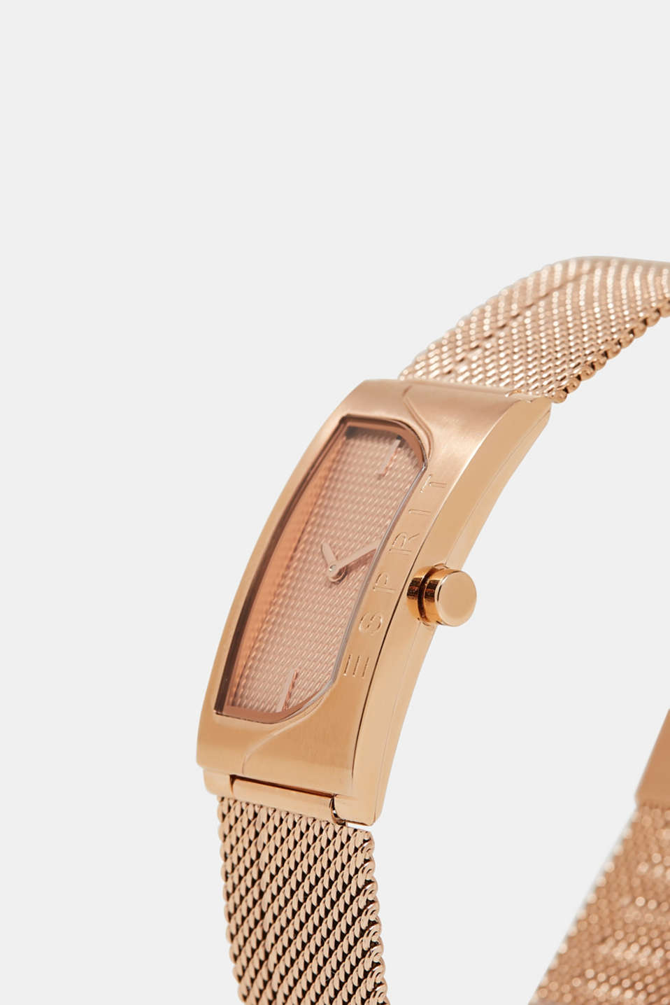 Rose gold watch with a Milanese strap