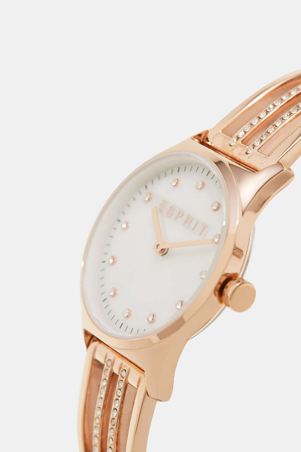 Rose gold watch with zirconia