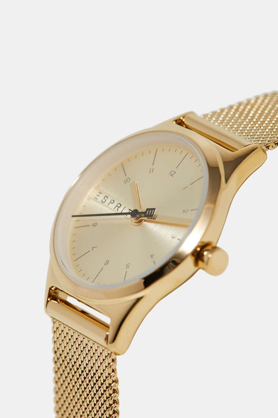 Stainless-steel watch with a mesh strap, GOLD, detail image number 1